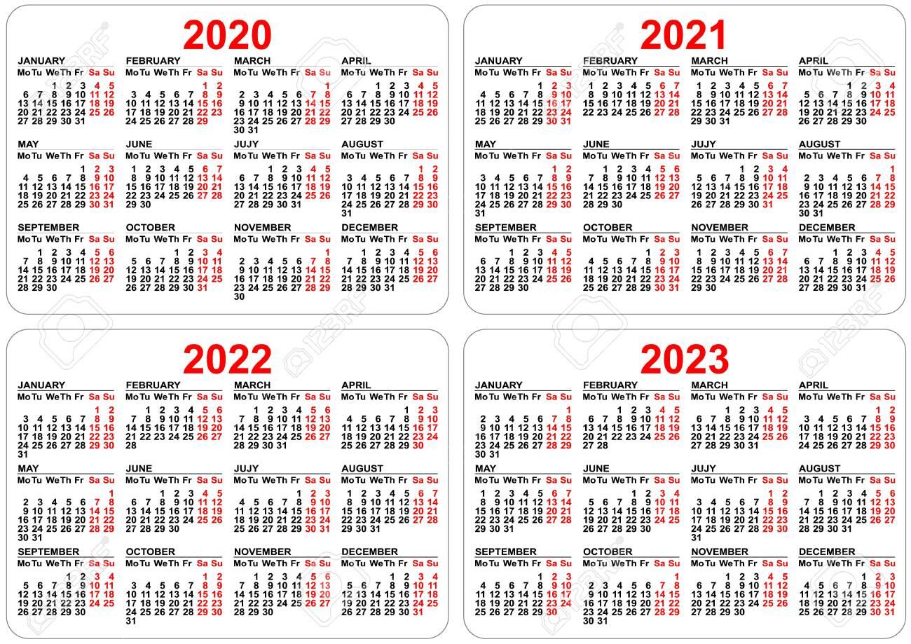 Stock Photo with 3 Year Calendar 2020 To 2023