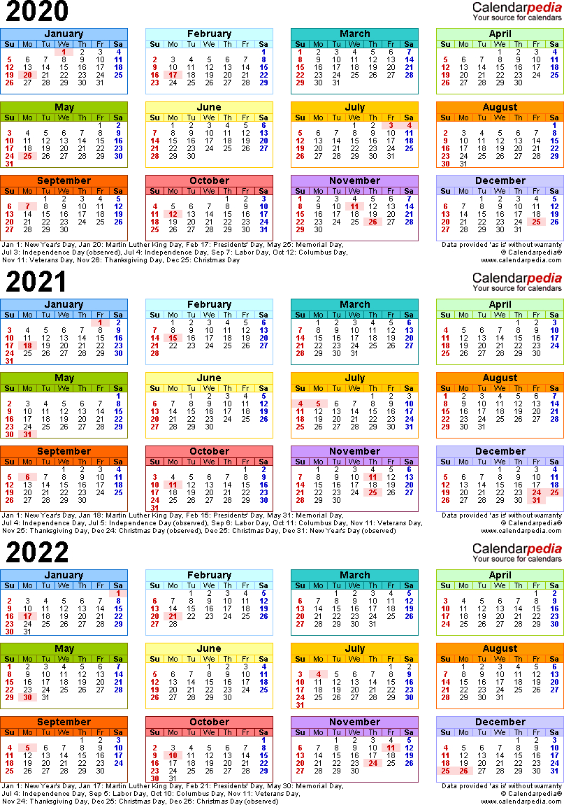 Template 3: Word Template For Three Year Calendar 2020-2022 with 3 Year Calendar 2020