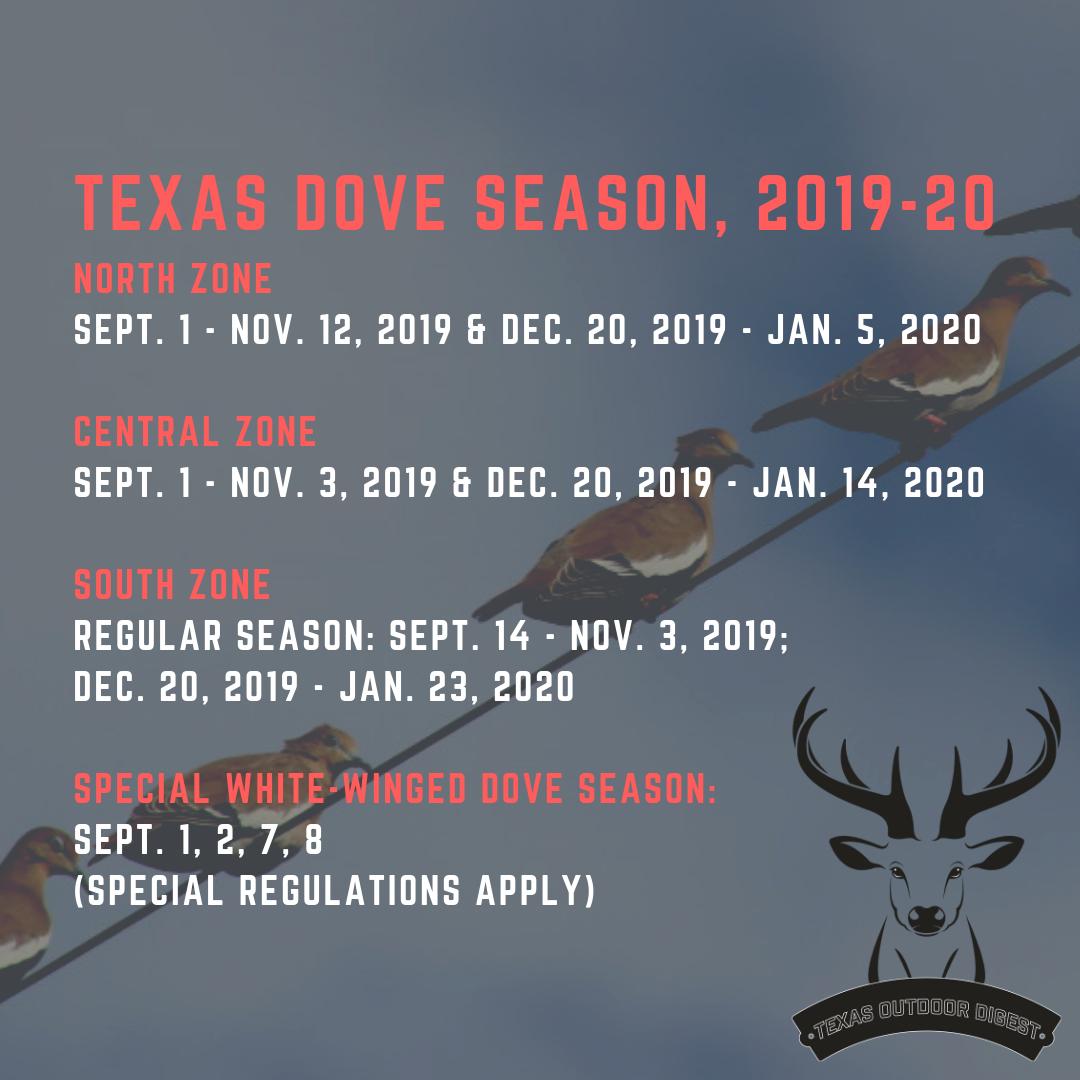 Texas Dove Hunting Forecast: Expect Plenty Of Whitewings inside Deer Hunting Calendar 2020
