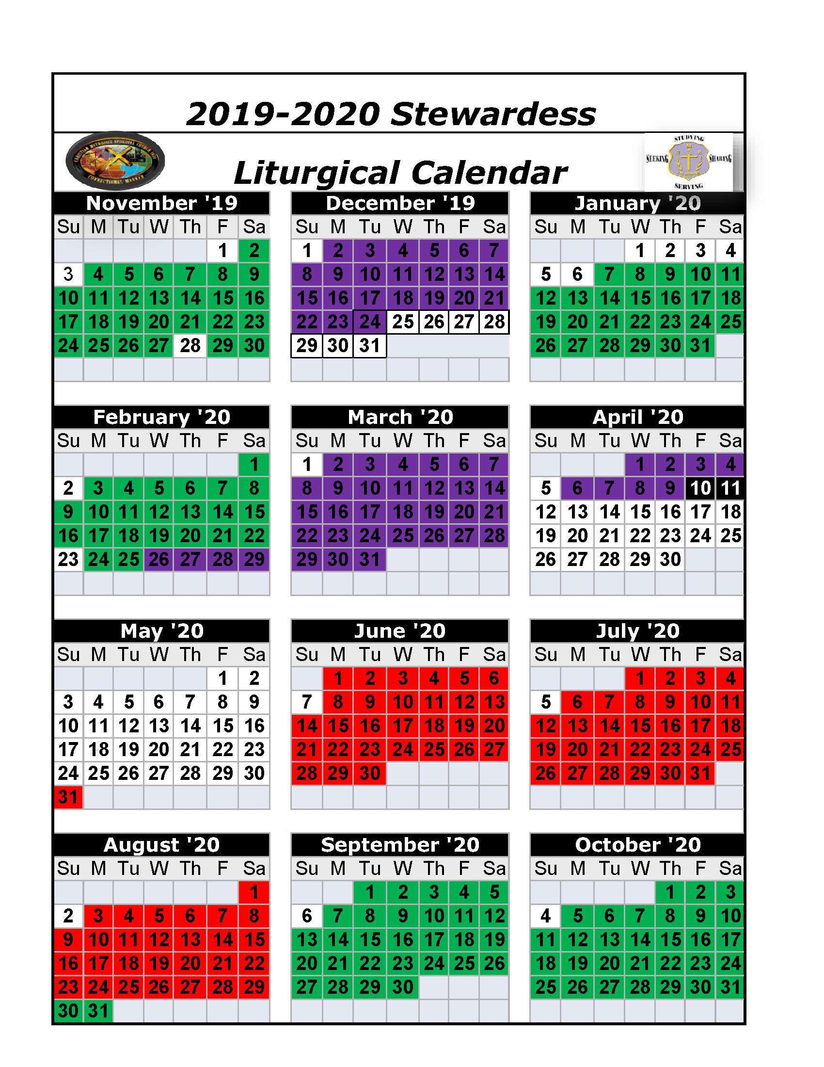 The Christian Methodist Episcopal Church with Printable Monthly Liiturgical Calendar 2020