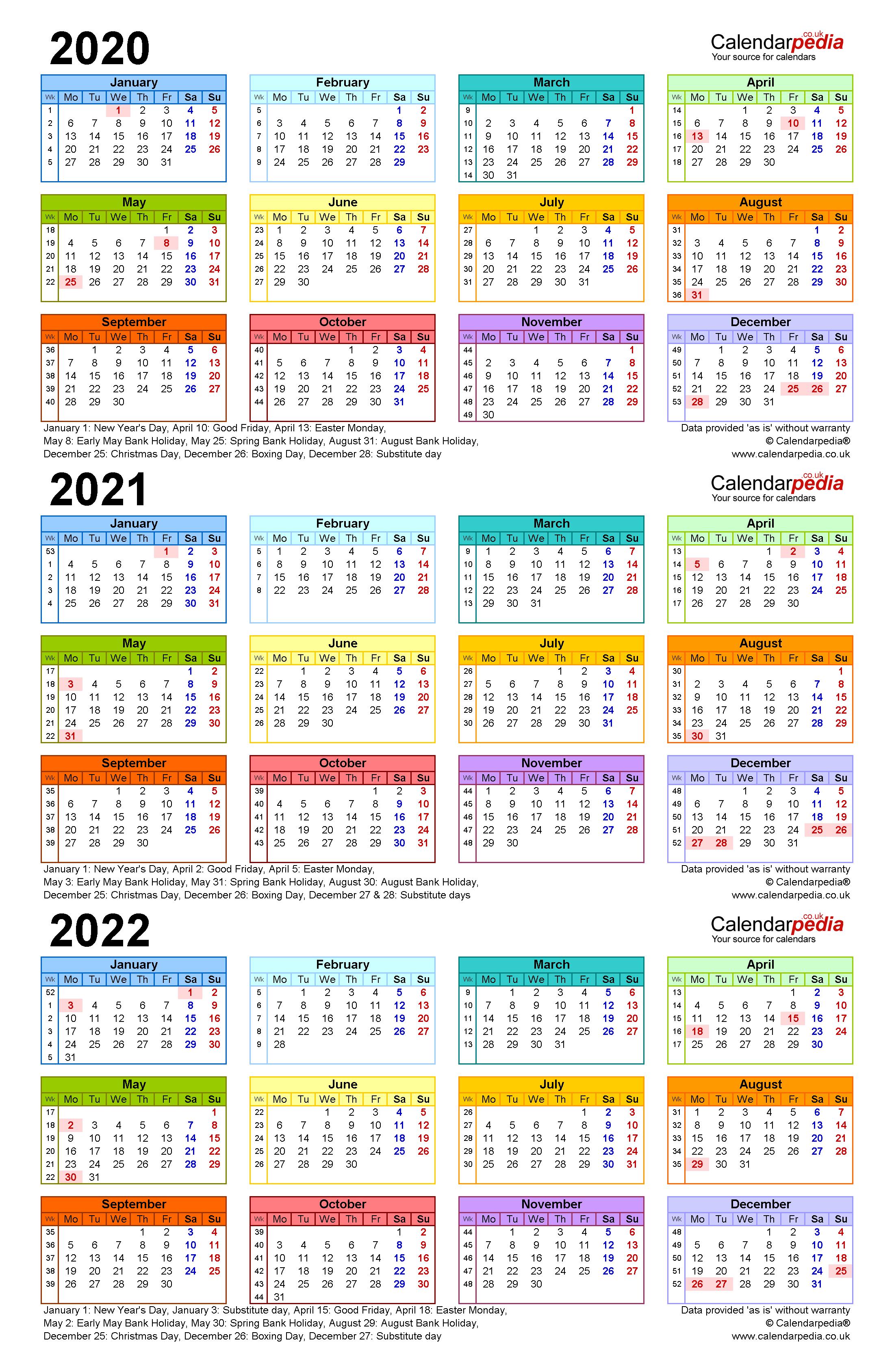 Three Year Calendars For 2020, 2021 & 2022 (Uk) For Pdf regarding 3 Year Calendar 2020 To 2023