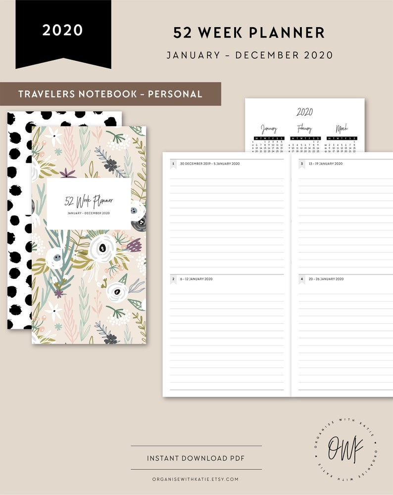 Tn Personal | 2020 52 Week Planner Printable, Weekly Monthly, Diary  Calendar, Printable Travelers Notebook Inserts, 2020 2021 Year Overview in 2020 Monthly Printable Pocket Planner