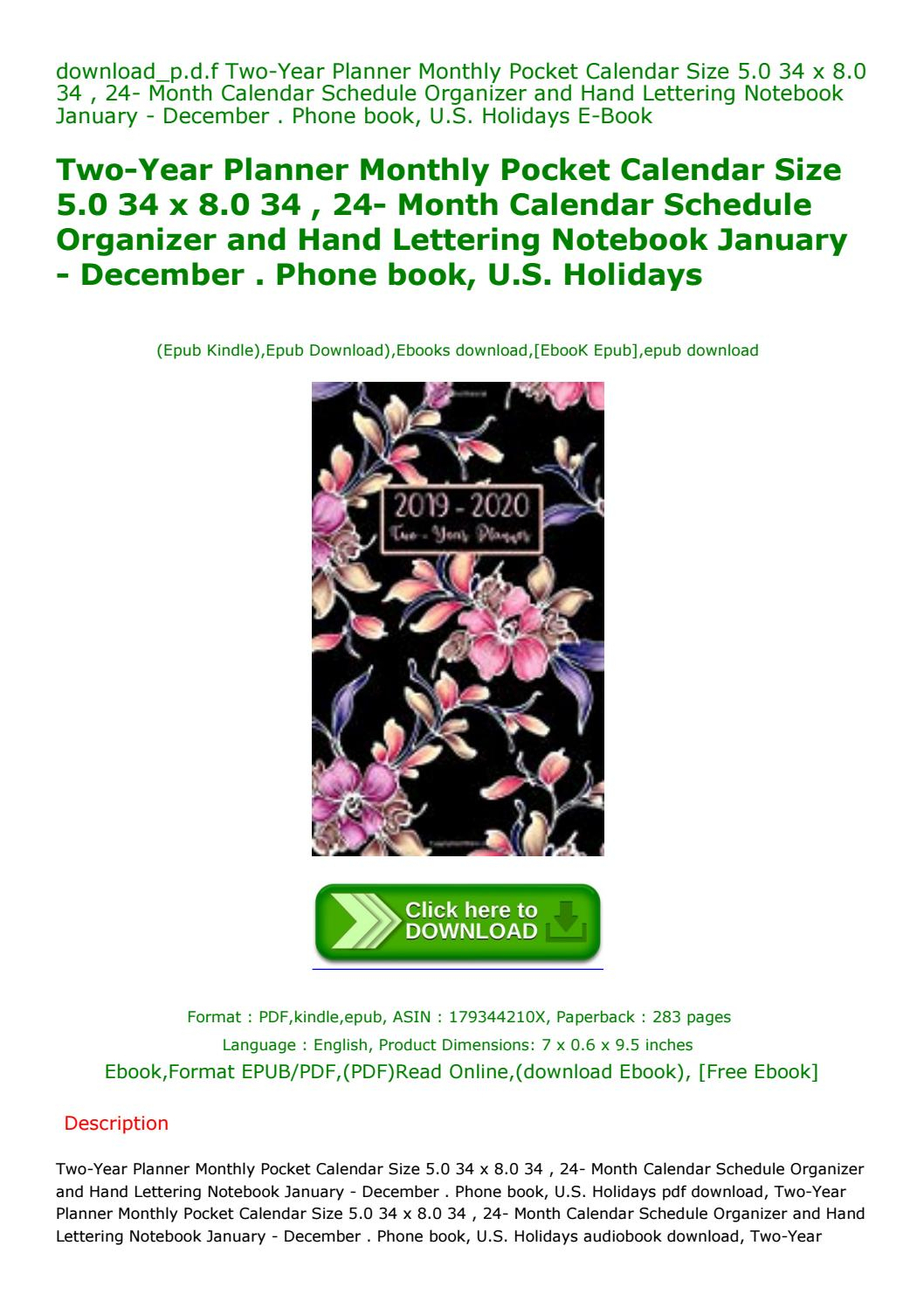 Two-Year Planner Monthly Pocket Calendar Size 5.0 34 X 8.0 within Pocket Calendar Free Online