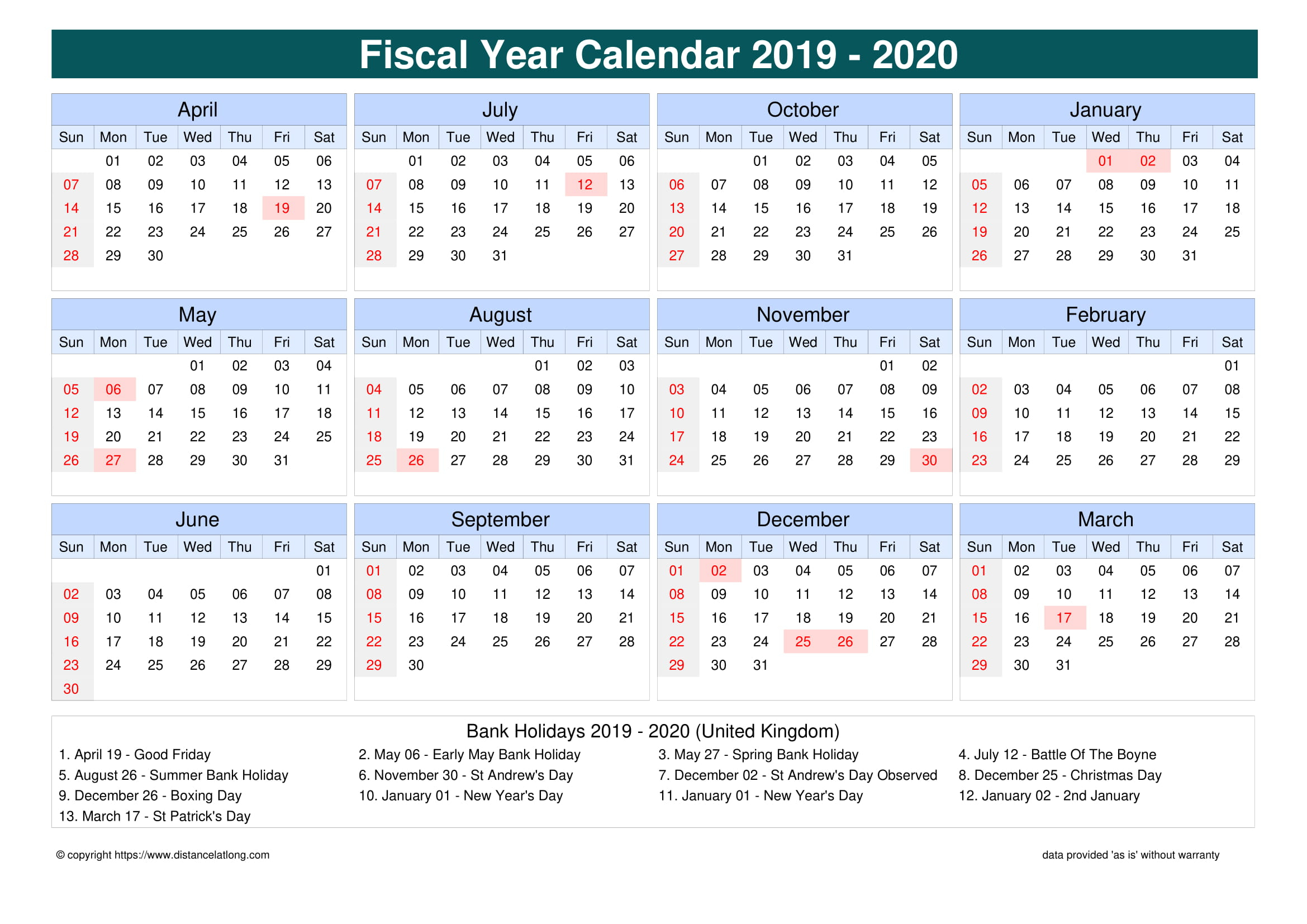 United Kingdom Fiscal Year 2019-2020 Calendar Templates with Fiscal Calendar For October 2020
