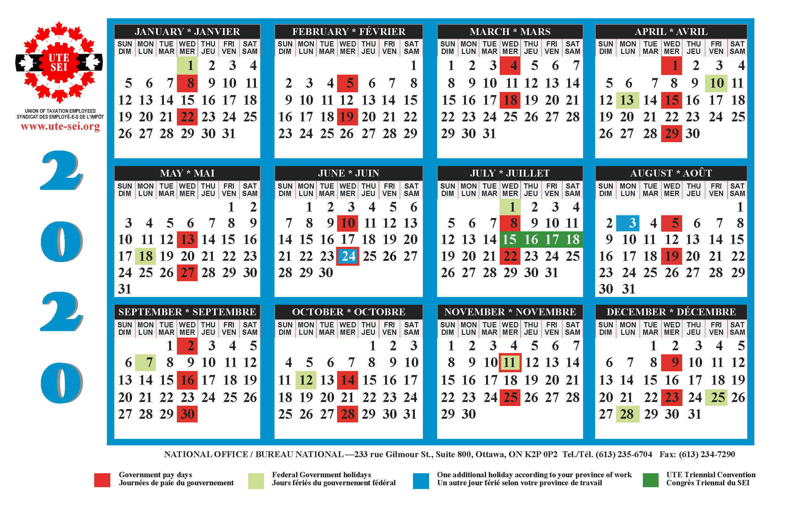 Ute 2019-2020 Calendar | Union Of Taxation Employees with regard to 2021 Payday Working Days Calendar