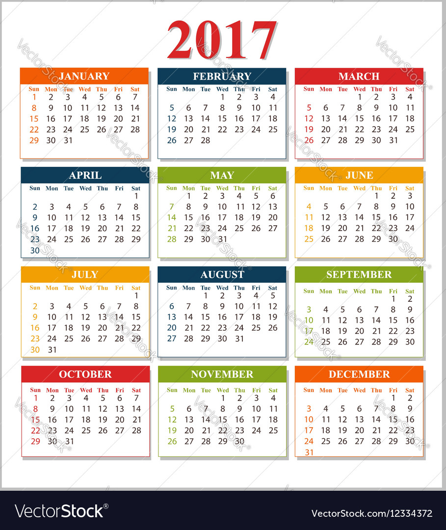 Wall Calendar For 2017 From Sunday To Saturday in Sunday To Saturday Calendar