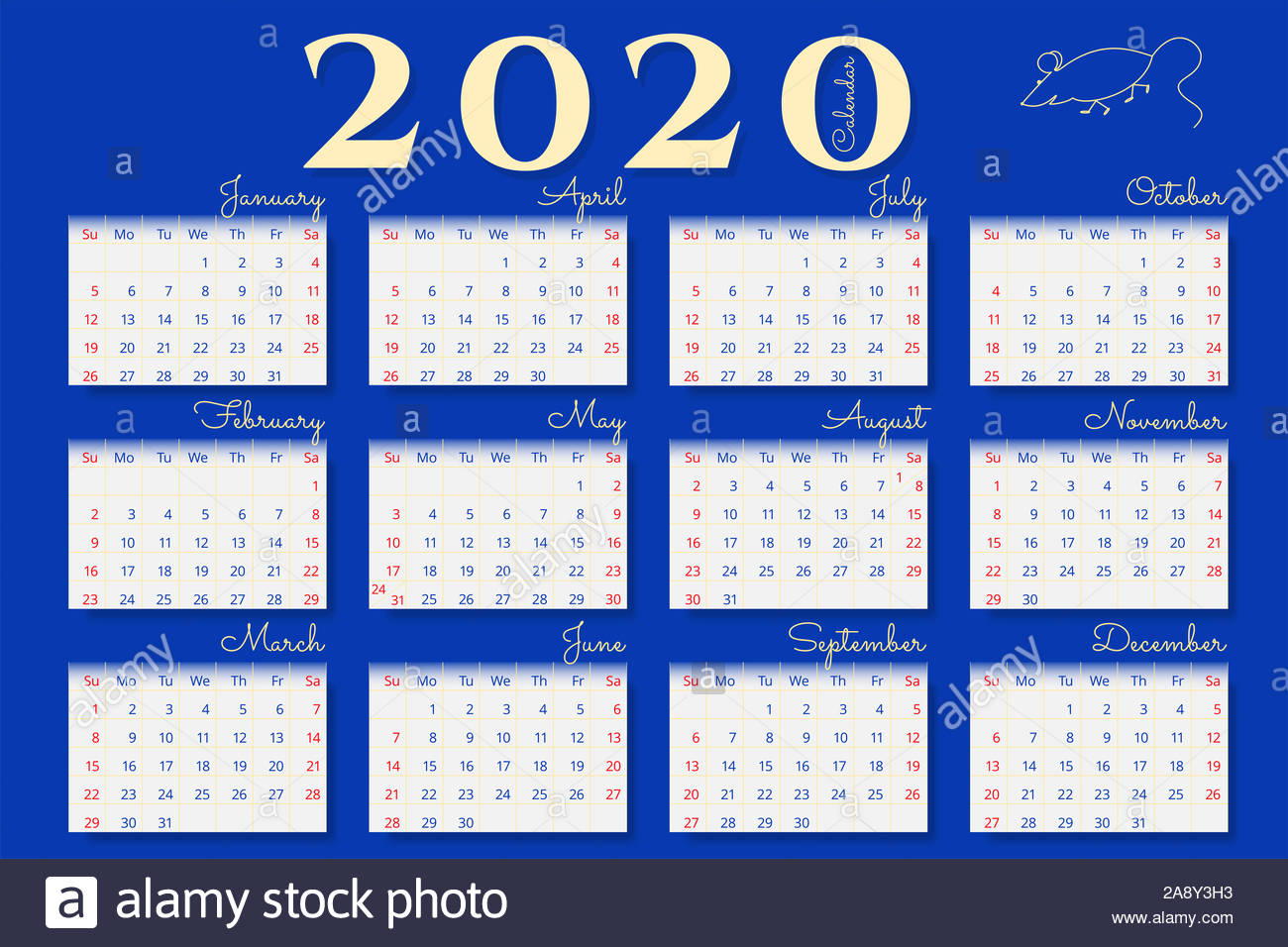 Wall Calendar Of 2020 Year On Blue Background. Sunday And with regard to Sunday To Saturday Calendar