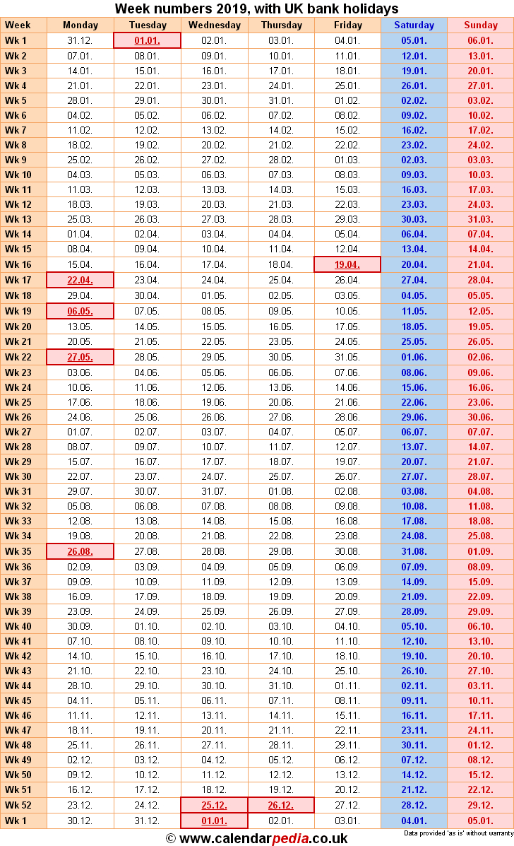Week Numbers 2019 With Excel, Word And Pdf Templates with Yearly Week Number Calendar Excel