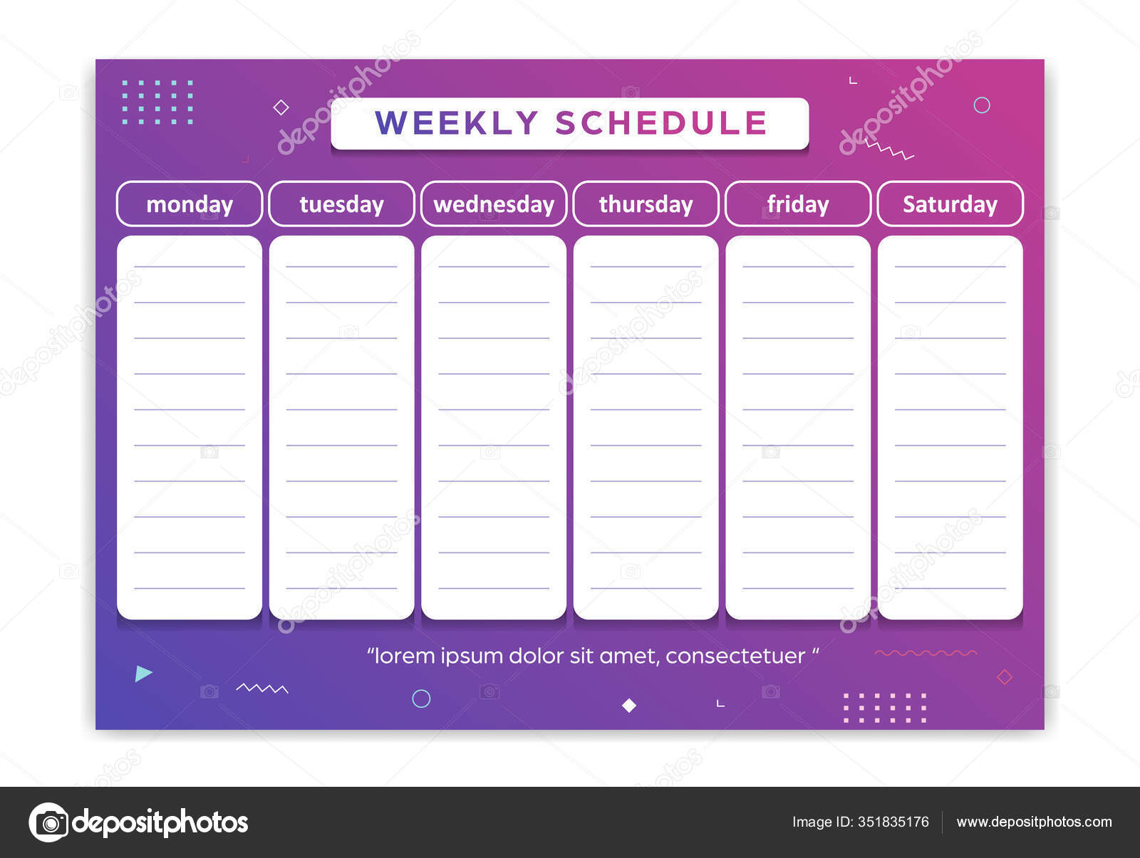 Weekly Schedules Stock Vectors, Royalty Free Weekly within Depo Schedule For 2020