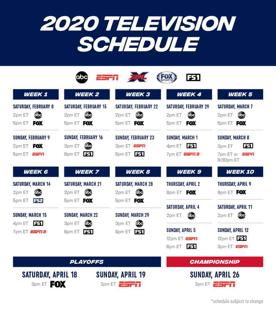 Xfl 2020 Television Schedule Review pertaining to 2020 Nfl Schedule Printable