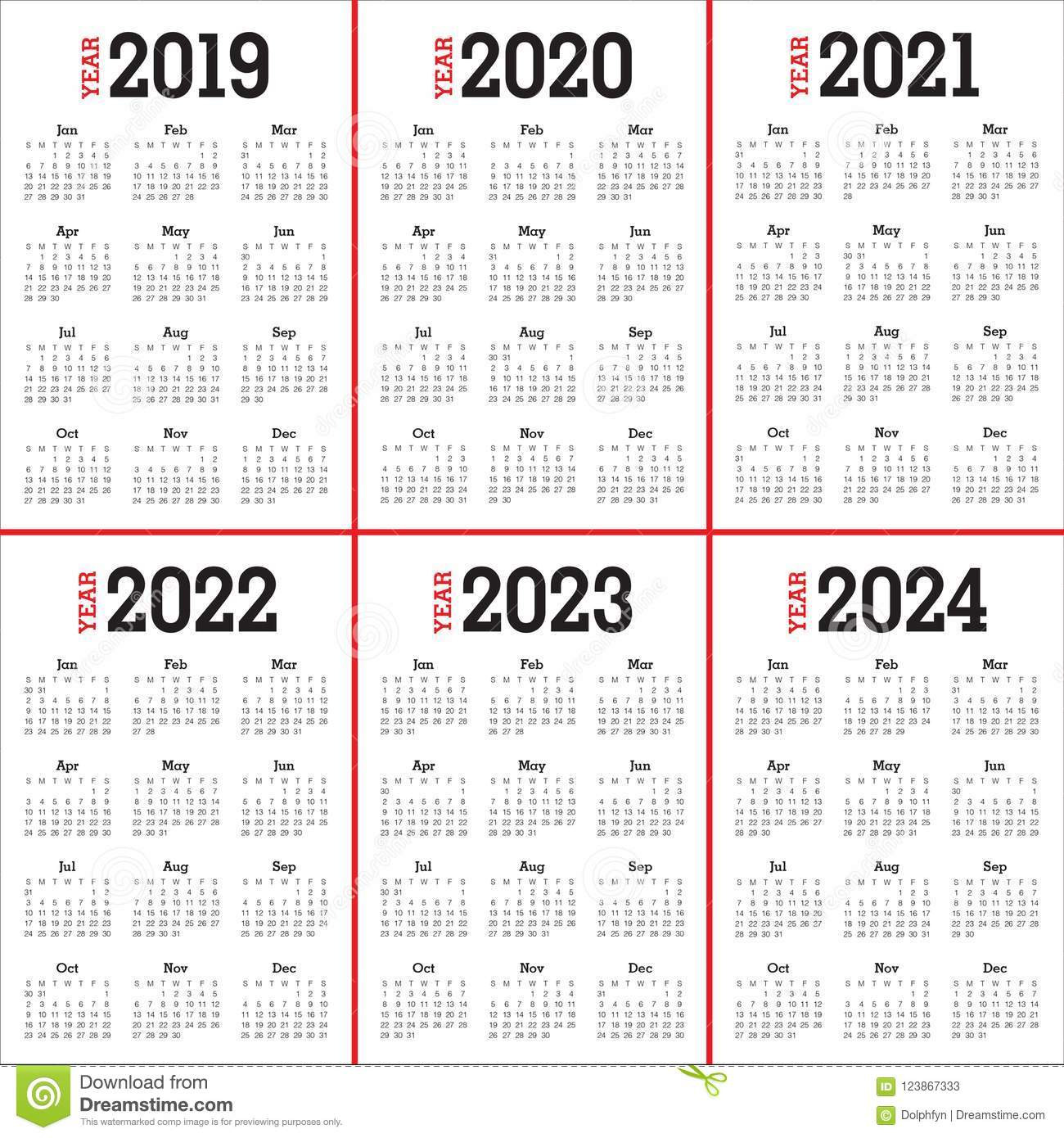 Year 2019 2020 2021 2022 2023 2024 Calendar Vector Design intended for 3 Year Calendar 2020 To 2023