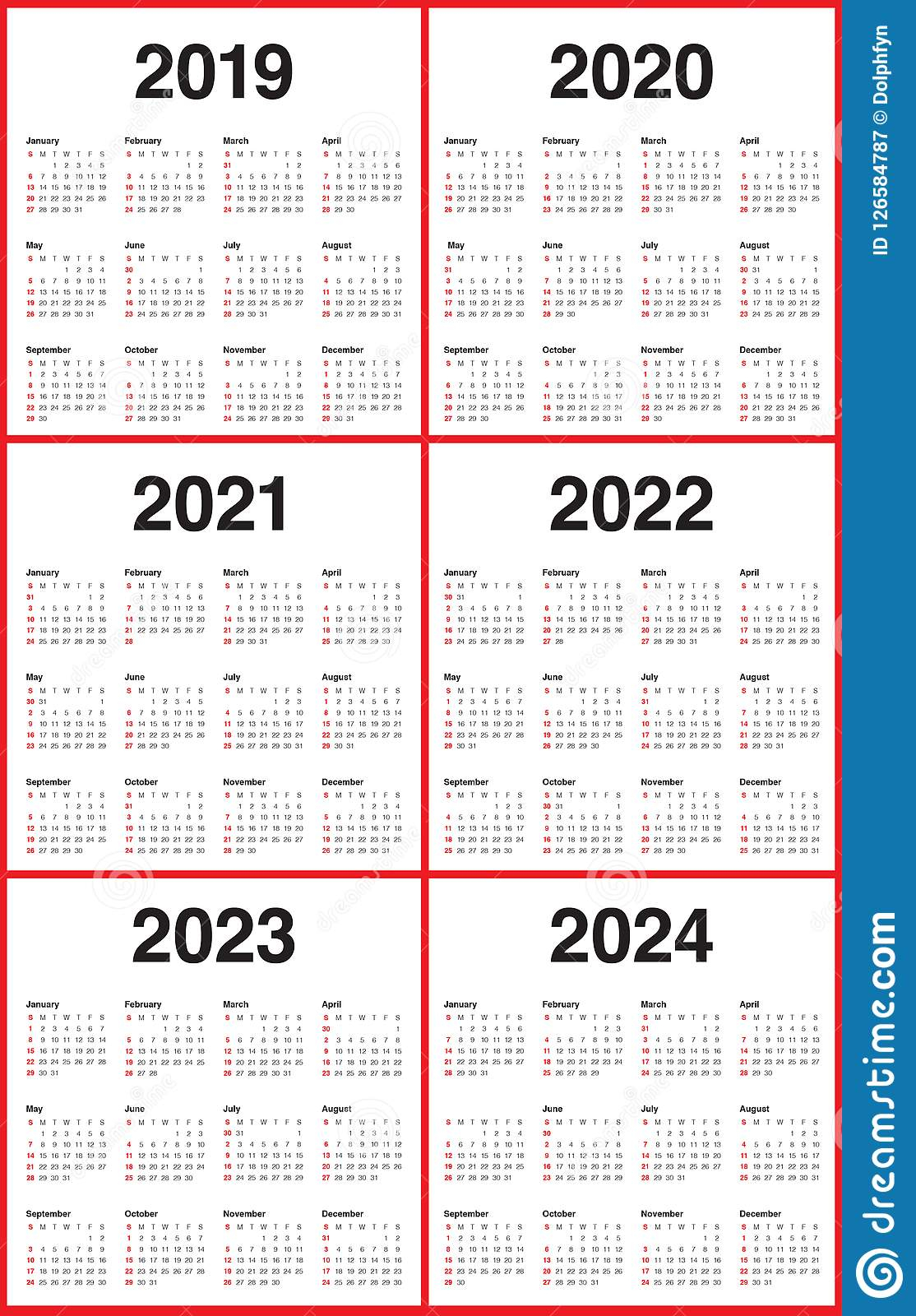 Year 2019 2020 2021 2022 2023 2024 Calendar Vector Design regarding Three Year Printable Calendar 2020 To 2023