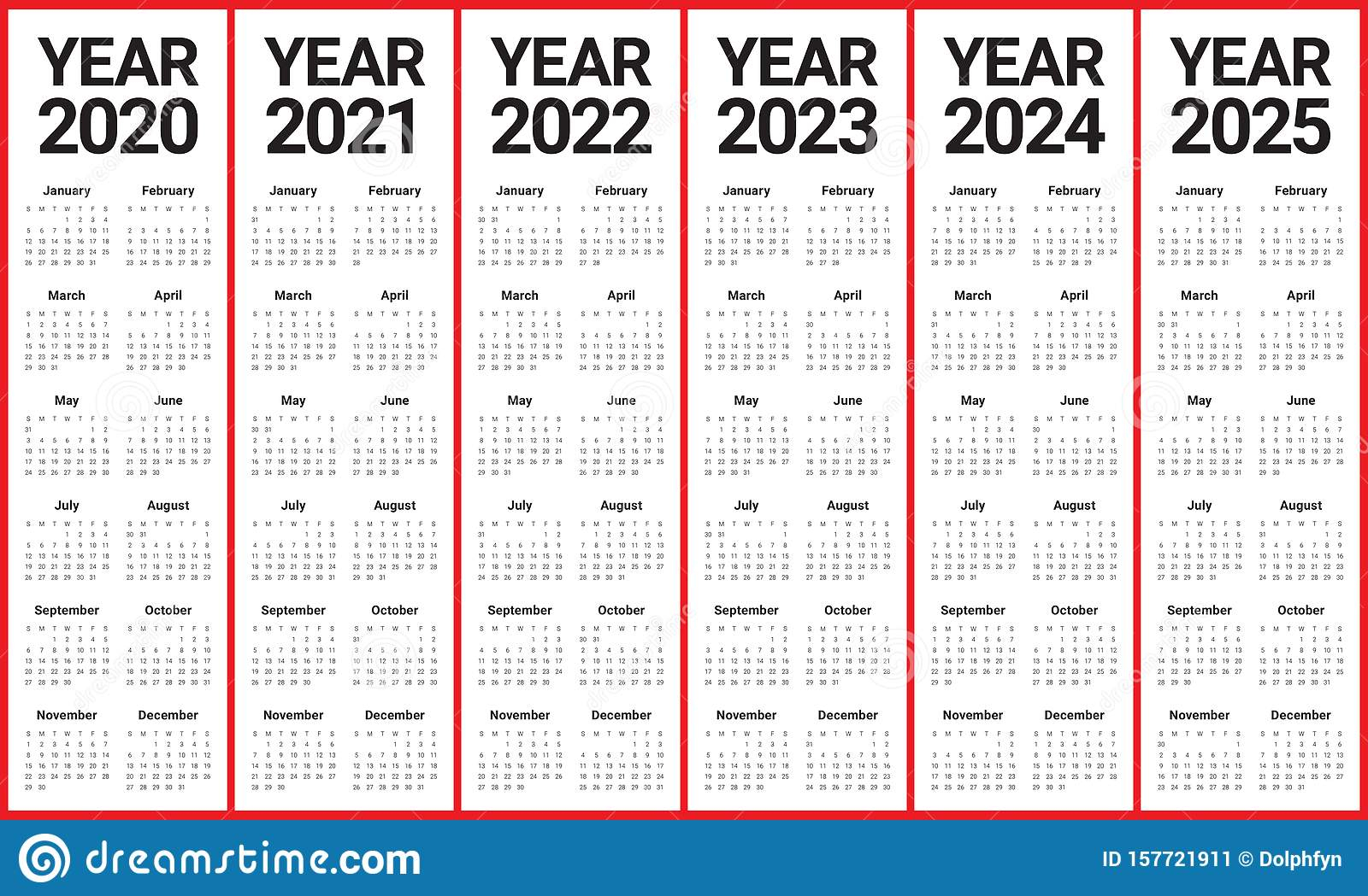 Year 2020 2021 2022 2023 2024 2025 Calendar Vector Design inside Three Year Printable Calendar 2020 To 2023