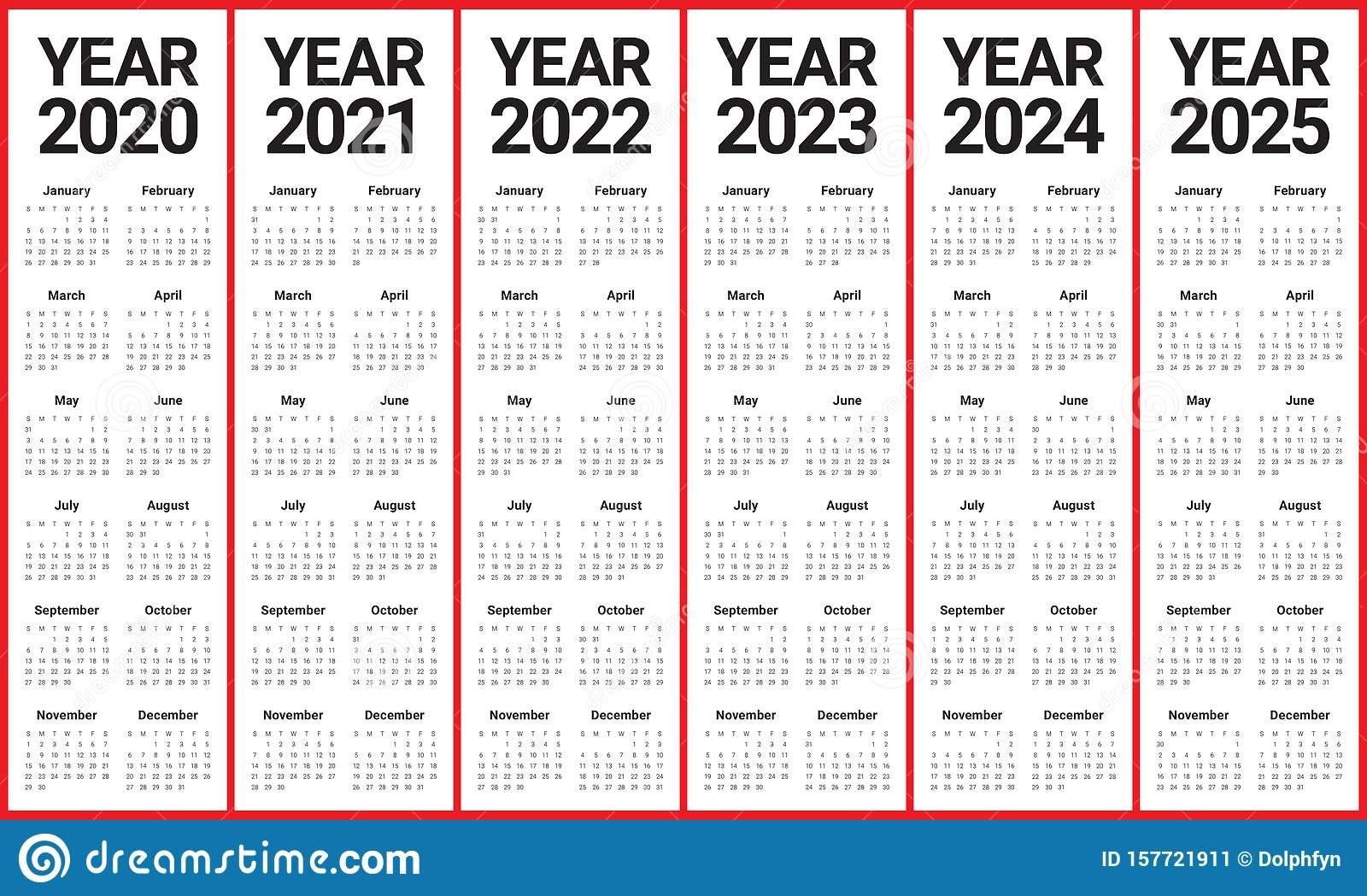 Year 2020 2021 2022 2023 2024 2025 Calendar Vector Design pertaining to 3 Year Calendar 2020 To 2023