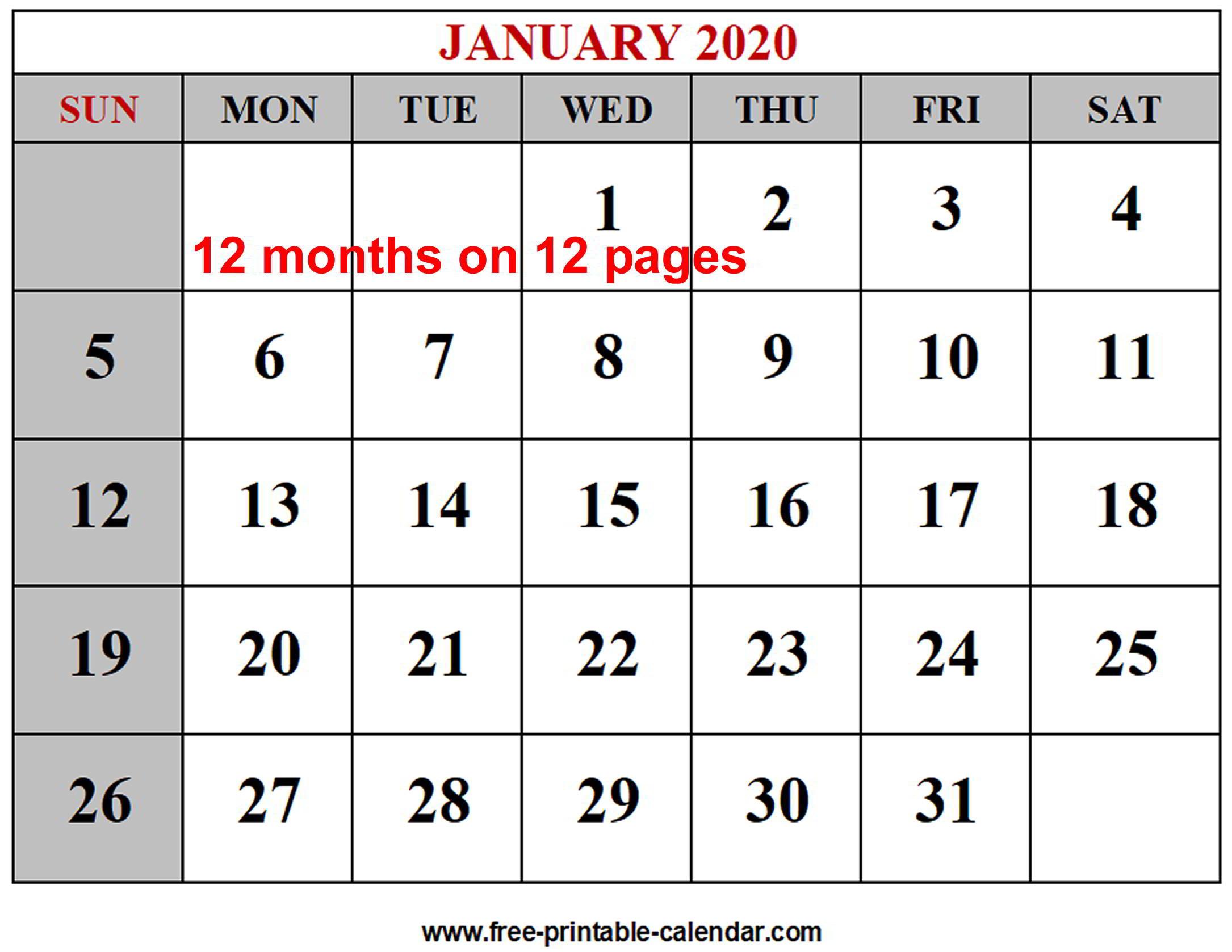 Year 2020 Calendar Templates - Free-Printable-Calendar within Free Blank Printable Monthly Calendar 2020