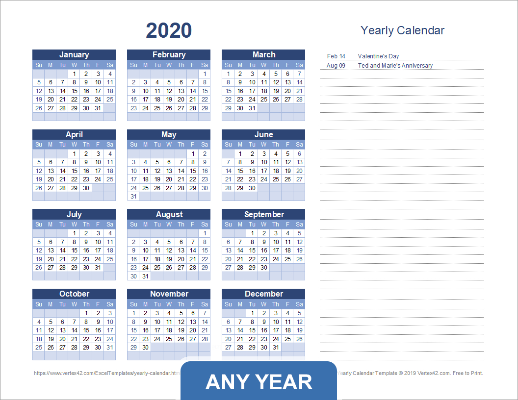 Yearly Calendar Template For 2020 And Beyond in Yearly Week Number Calendar Excel