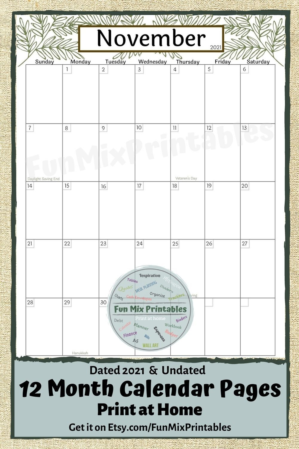 12 Month Calendar / Printable / Undated Calendar / Dated regarding 2021 Fill-In Calendar