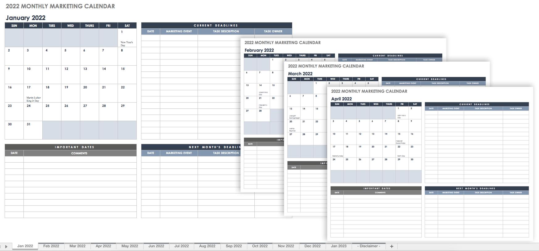 15 Free Monthly Calendar Templates | Smartsheet inside Lesson Plan Calendar Template 2021