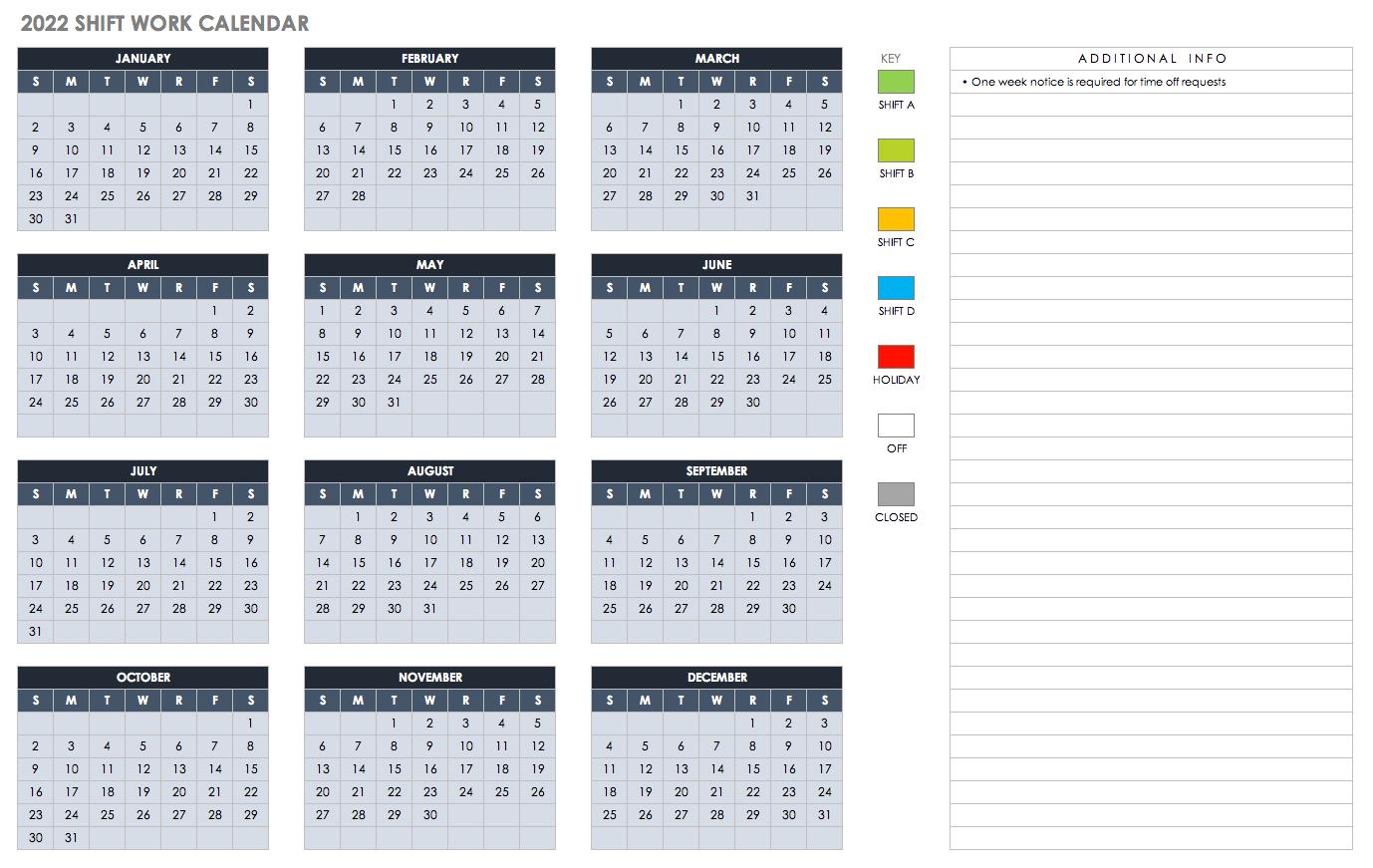 15 Free Monthly Calendar Templates   Smartsheet inside Shift Calendar 2021