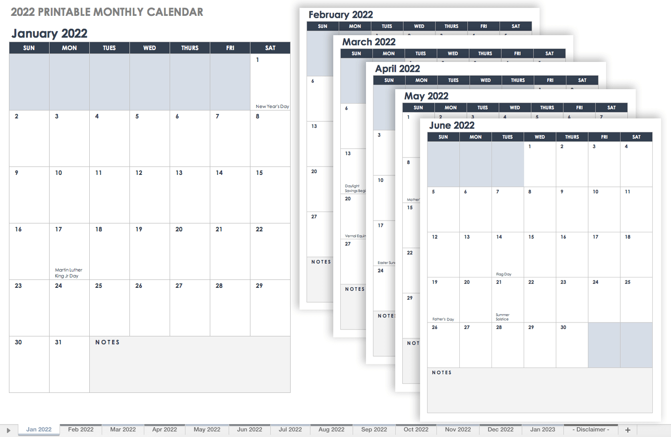15 Free Monthly Calendar Templates | Smartsheet with regard to 2021-2021 Monthly Two Year Planner: