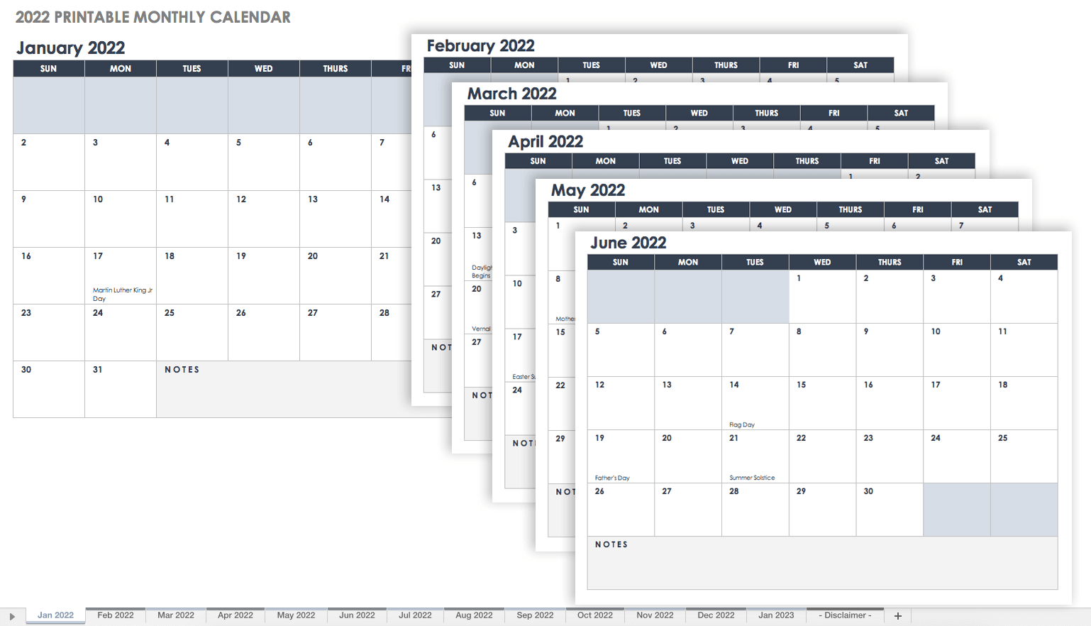 15 Free Monthly Calendar Templates | Smartsheet within 2021-2021 Two Year Monthly Planner:
