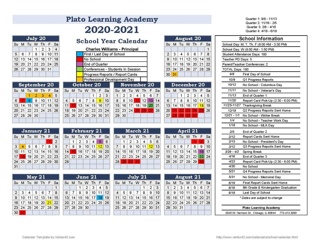 20.21 Calendar - Plato Learning Academy within Vertex Academic Calendar