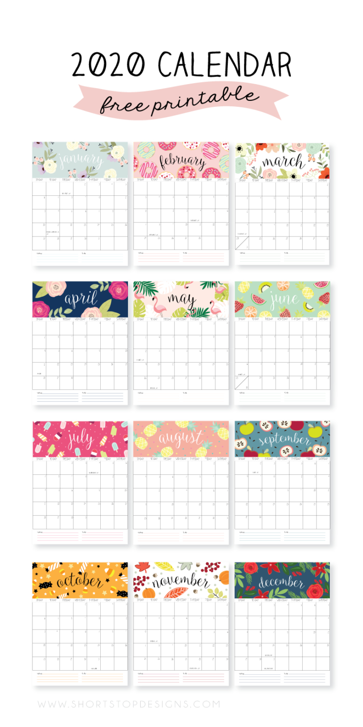 20 Free Printable 2020 Calendars - Lovely Planner with regard to Girly Calewnder Of The Year