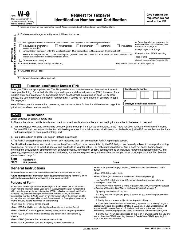 2014 Form Irs W-9 Fill Online, Printable, Fillable, Blank pertaining to Blank W 9 Form To Print