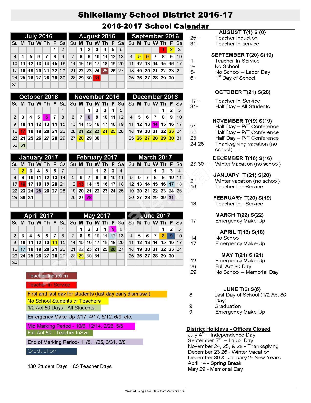 2016 - 2017 District Calendar   Shikellamy School District with Vertex Academic Calendar