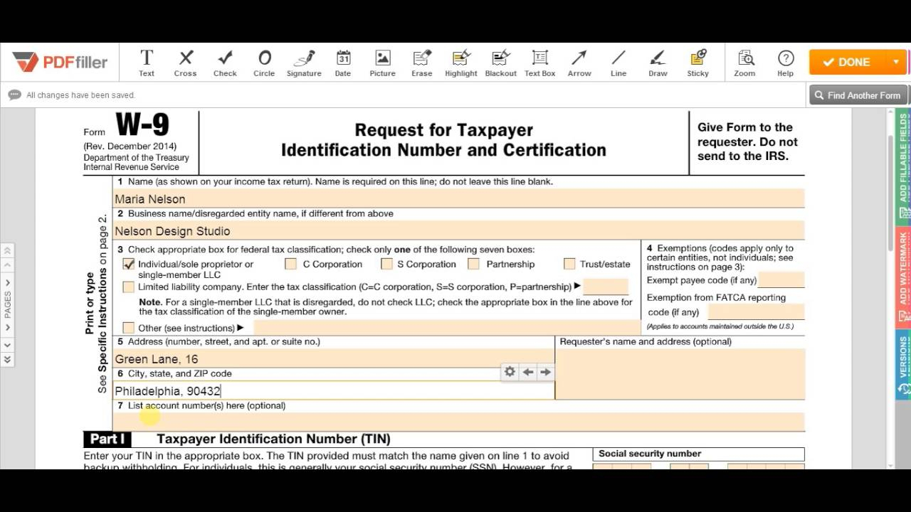 2018-2020 Form Irs W-9 Fill Online, Printable, Fillable, Blank - Pdffiller with W 9 Form Pdf Fillable