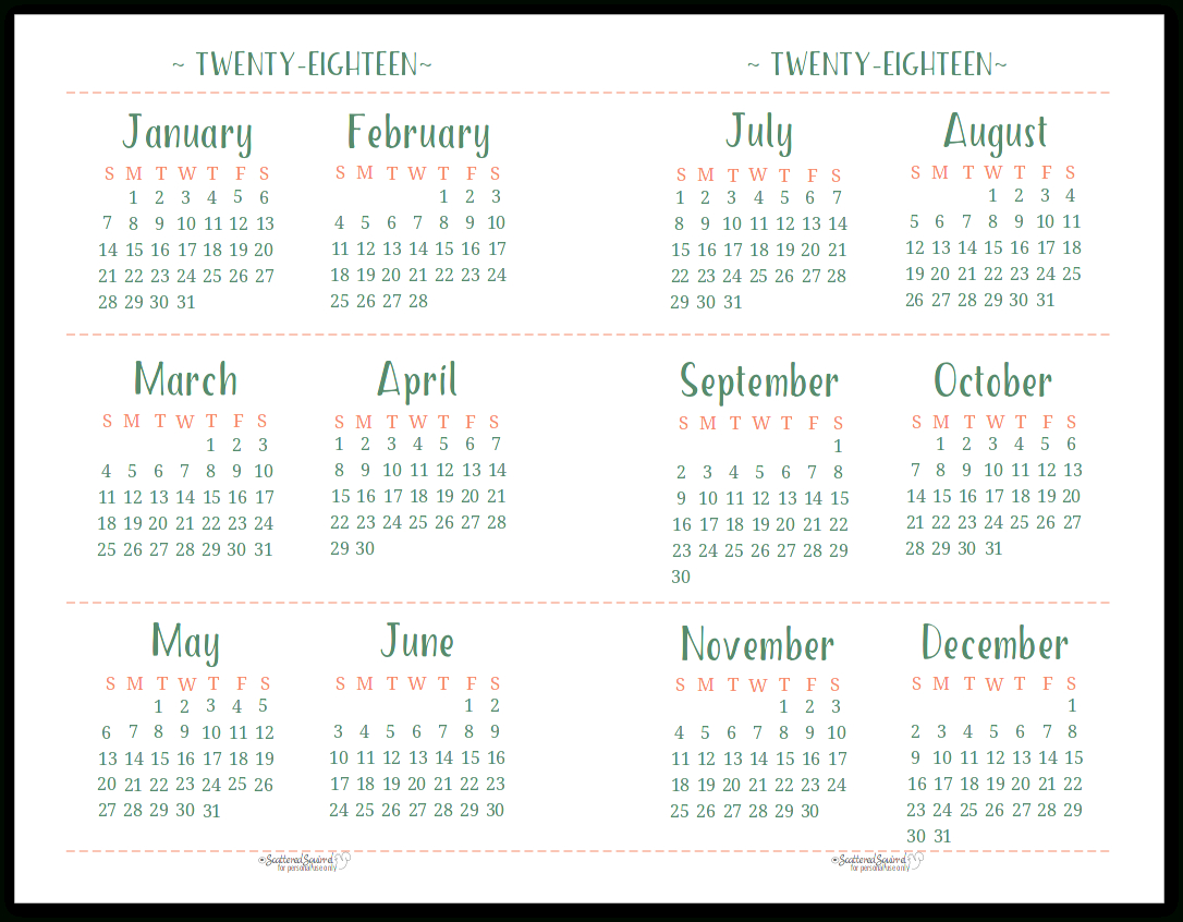 2018 Dated Yearly Calendar Printables Are Here | Free for Half-Page Yearly Callendar