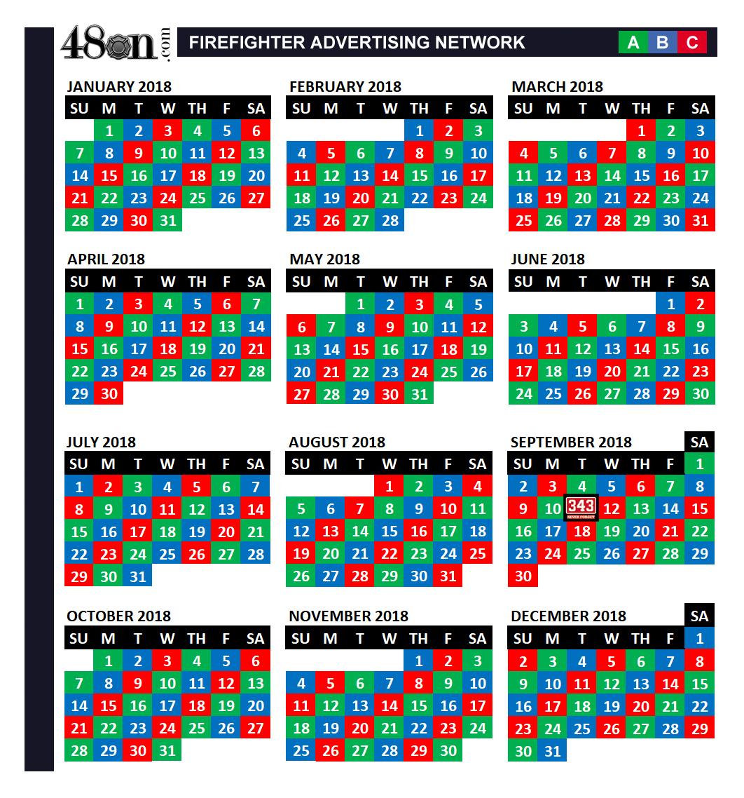 2018 Firefighter Shift Calendar – 48On – 48On with Fire Shift Calendar