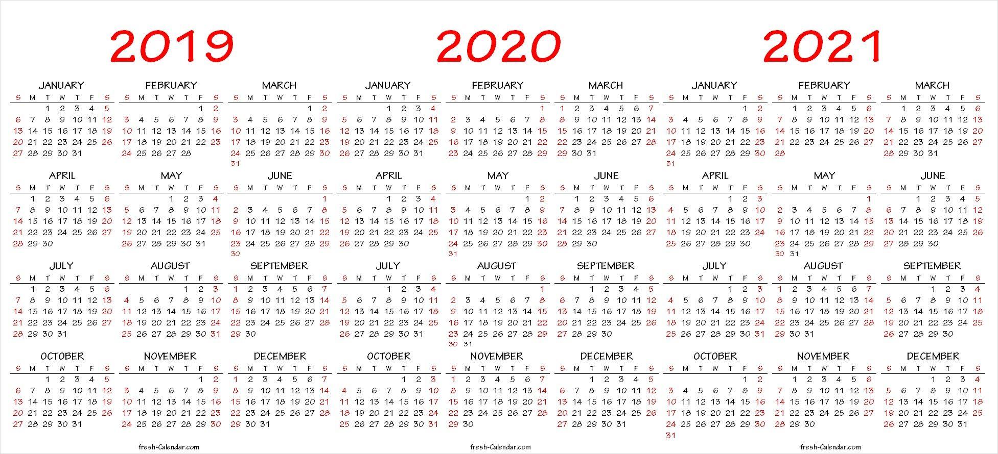 2019 2020 2021 Calendar Pdf Template | Calendar Printables in 2021 - 2023 Four Year Monthly Calendar