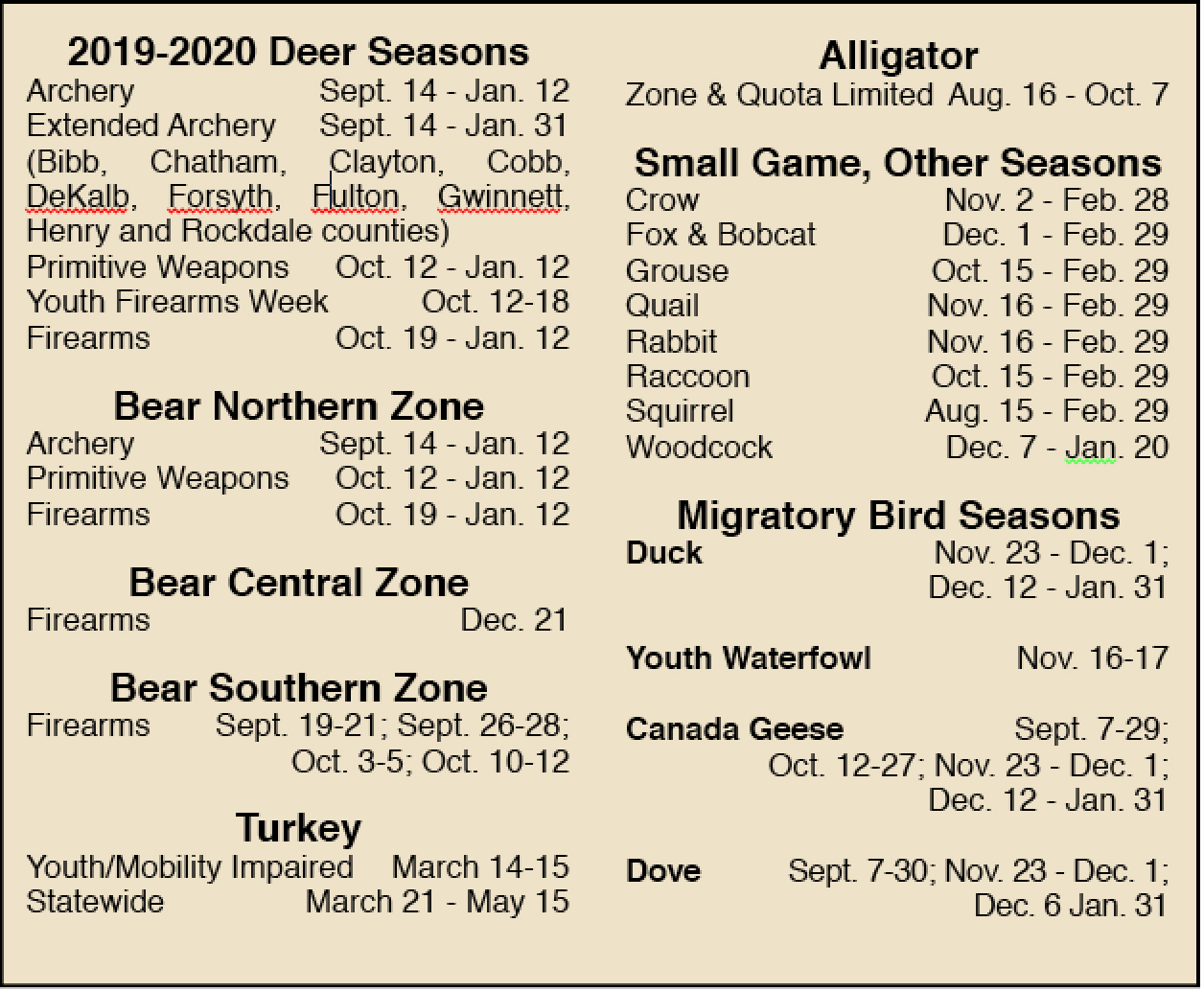 2019-2020 Guide To Georgia Hunting Season Dates intended for Georgia Rut Map 2021
