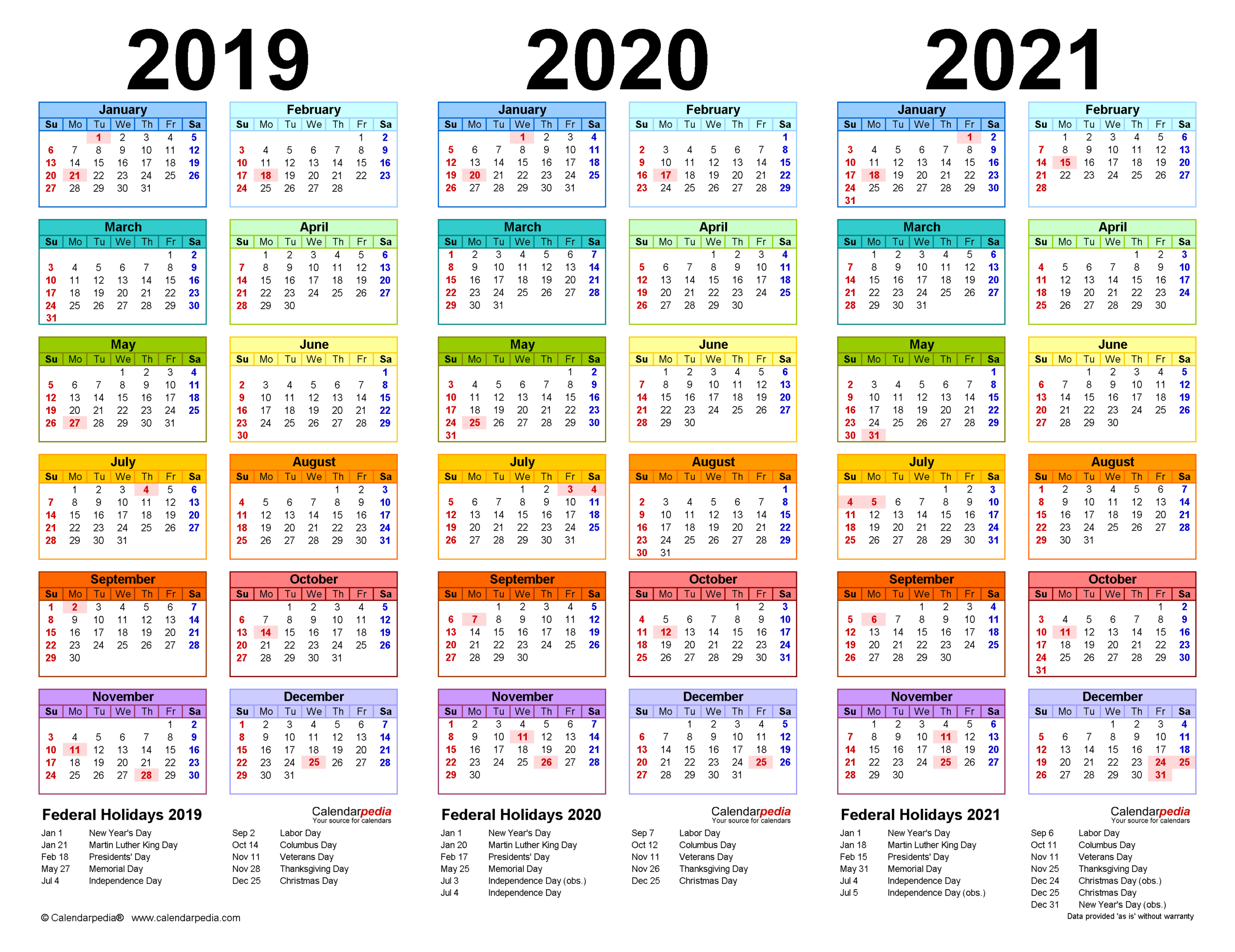 2019-2021 Three Year Calendar - Free Printable Word Templates pertaining to 2021-2021 Monthly Planner: 2 Years