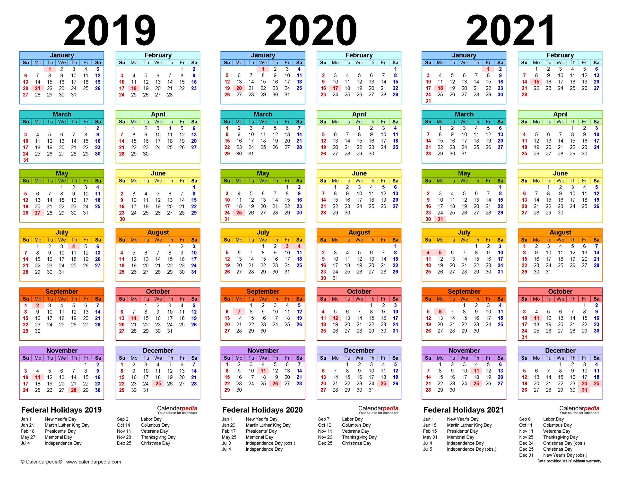 2019-2021 Three Year Calendar - Free Printable Word Templates within September Calendar 2021 Kaalnirnaya