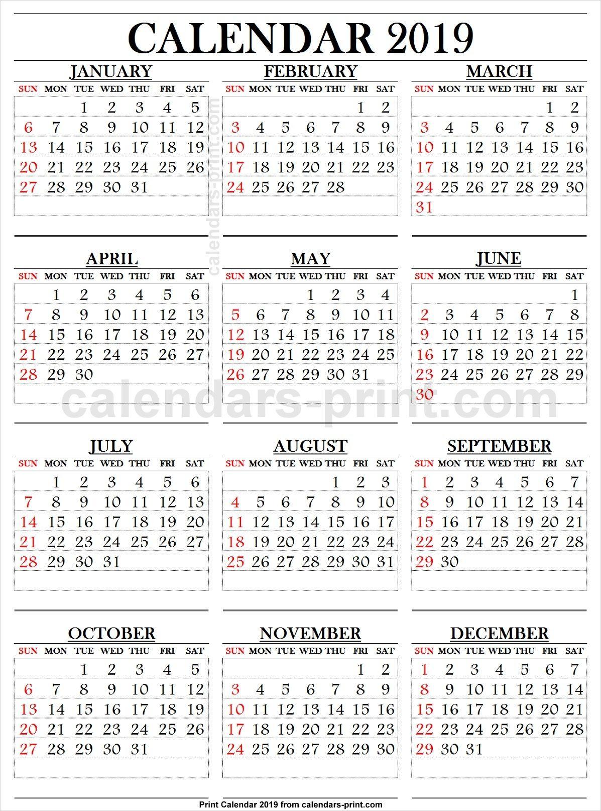 2019 Calendar Large Numbers | Printable Calendar Large intended for Large Number Calendar
