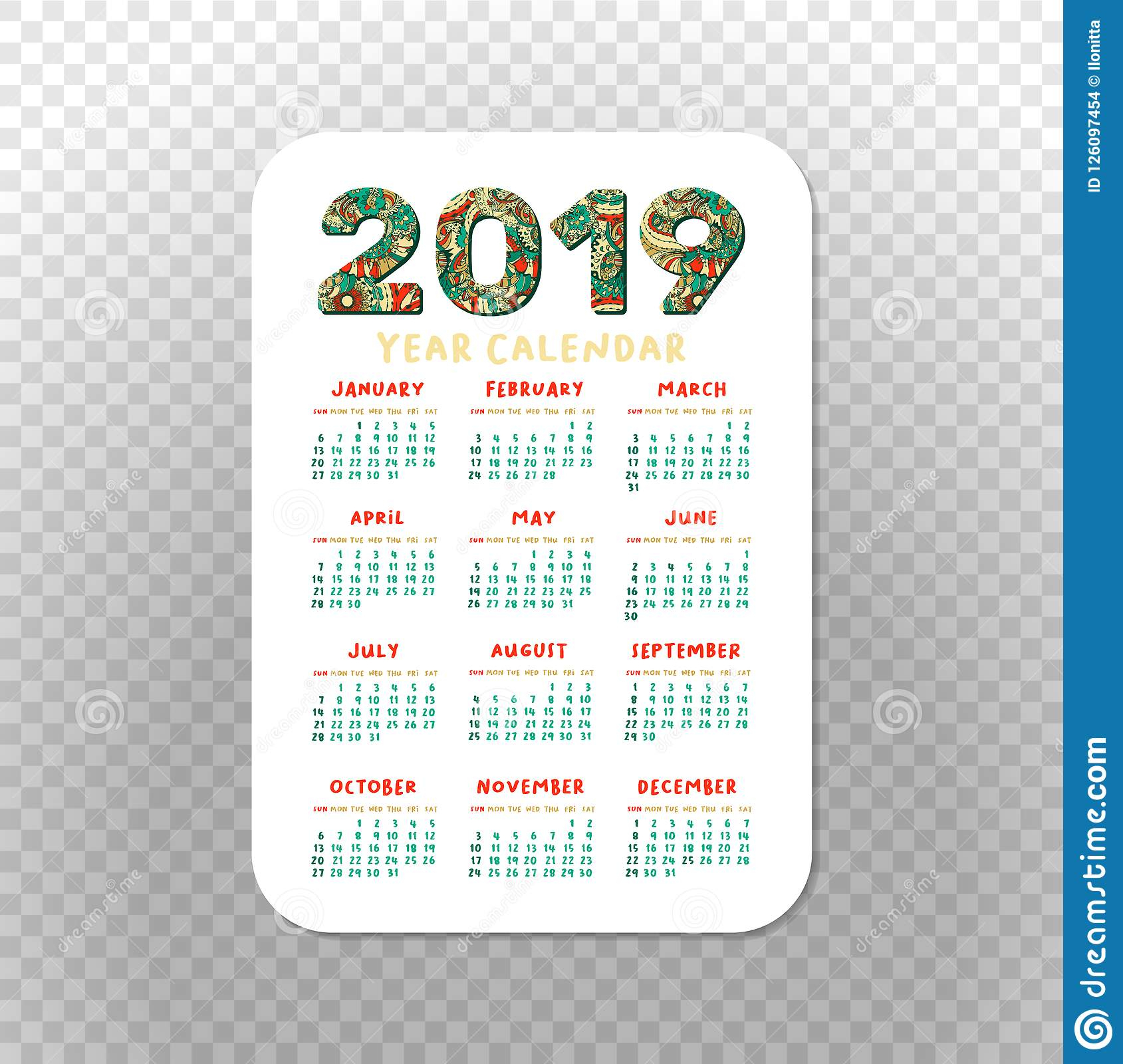 2019 Calendar Template For Pocket Calendar, Basic Grid intended for Free Printable Pocket Size Calendars