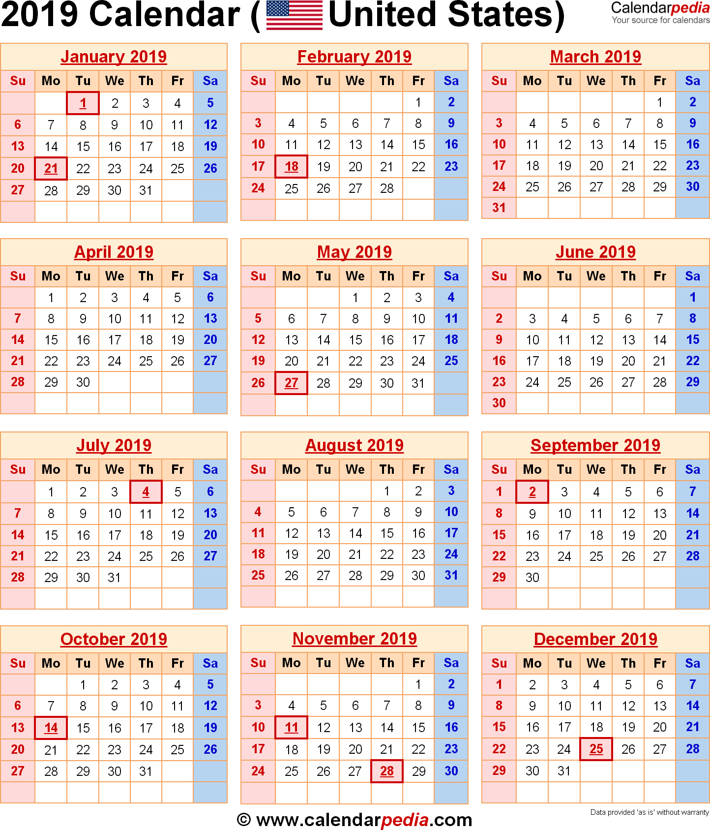 2019 Calendar With Federal Holidays intended for Federal Government Calendar Printable