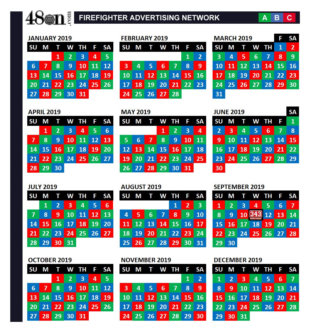 2019 Firefighter Shift Calendar – 48On – 48On within Fire Shift Calendar