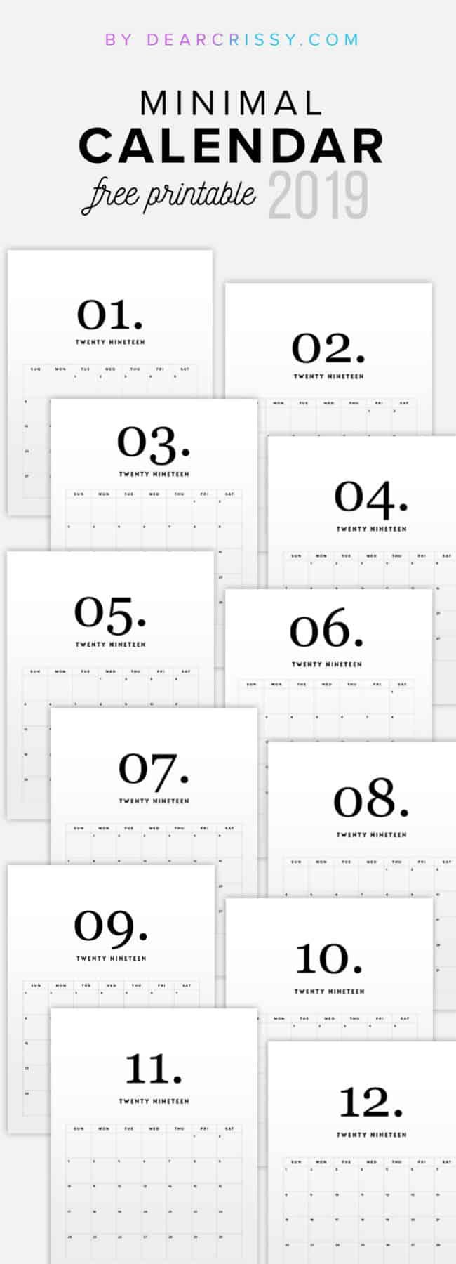 2019 Free Printable Calendars - Lolly Jane for Free Printable Small Pocket Calendars