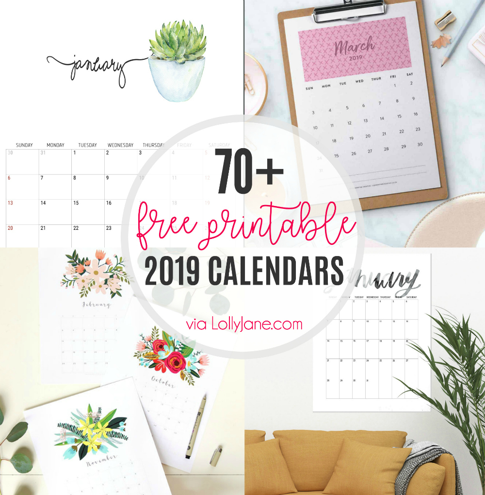 2019 Free Printable Calendars - Lolly Jane throughout Girly Calewnder Of The Year