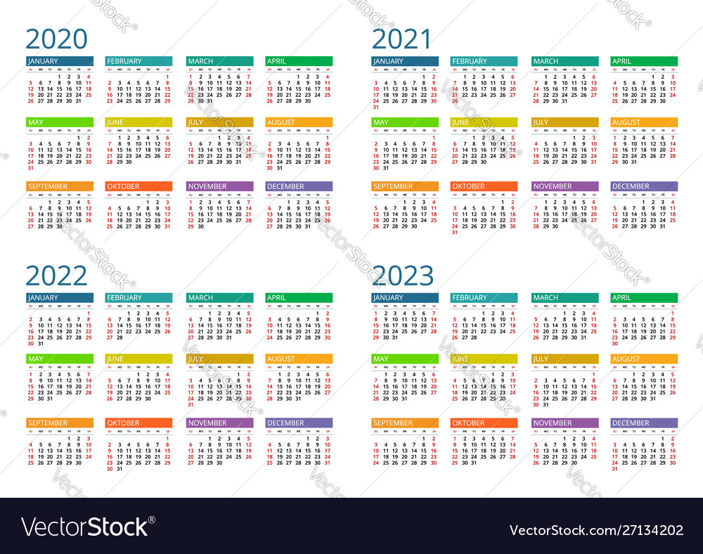 2020 2021 2022 2023 Calendar Print Template Vector Image throughout Three Year Printable Calendar 2021 To 2023