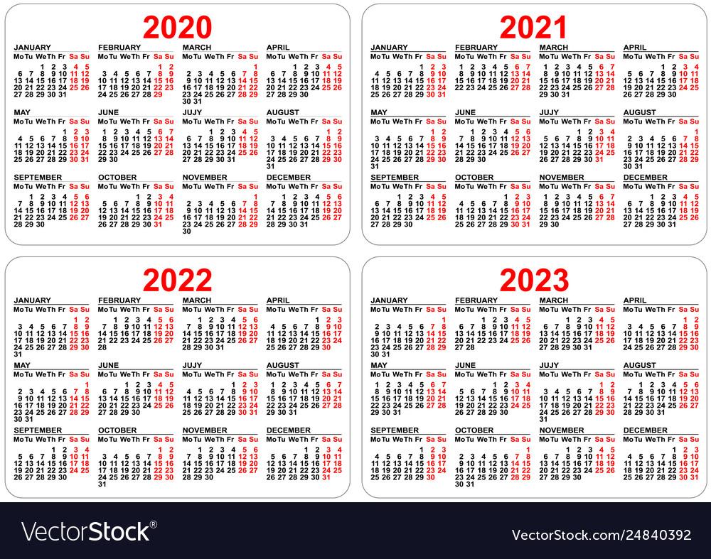 2020 2021 2022 2023 Years Set Pocket Calendar Vector Image in Three Year Printable Calendar 2021 To 2023