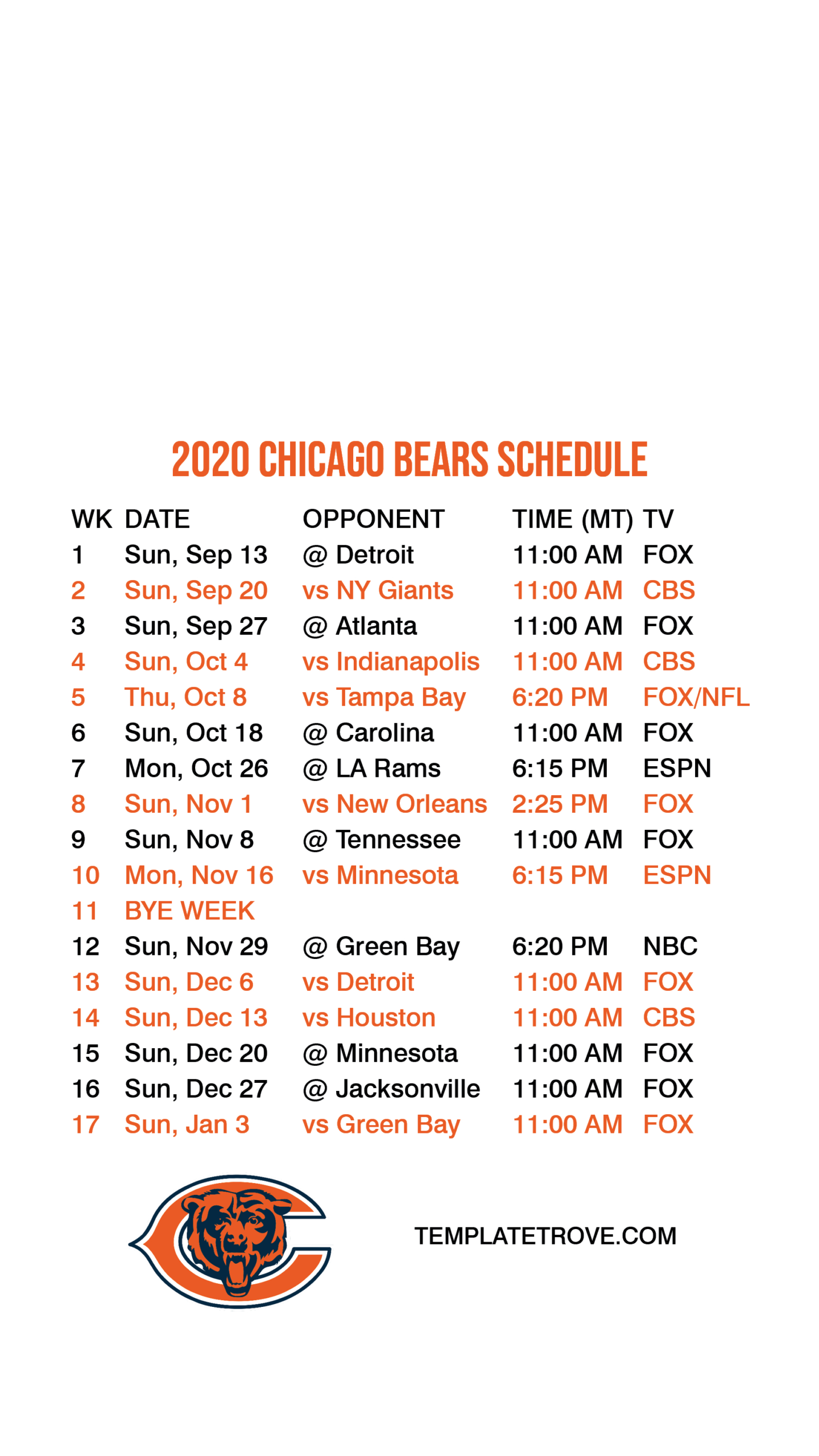 2020-2021 Chicago Bears Lock Screen Schedule For Iphone 6-7 throughout 2021 Printable Nfl Schedules