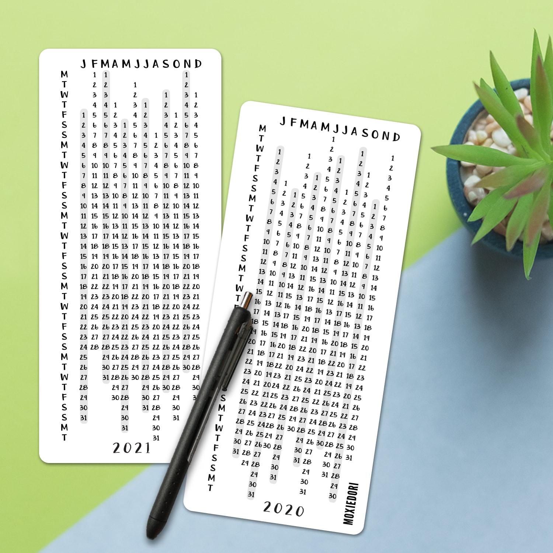 2020 - 2021 Linear Calendar Card within Waterproof Calendar 2021