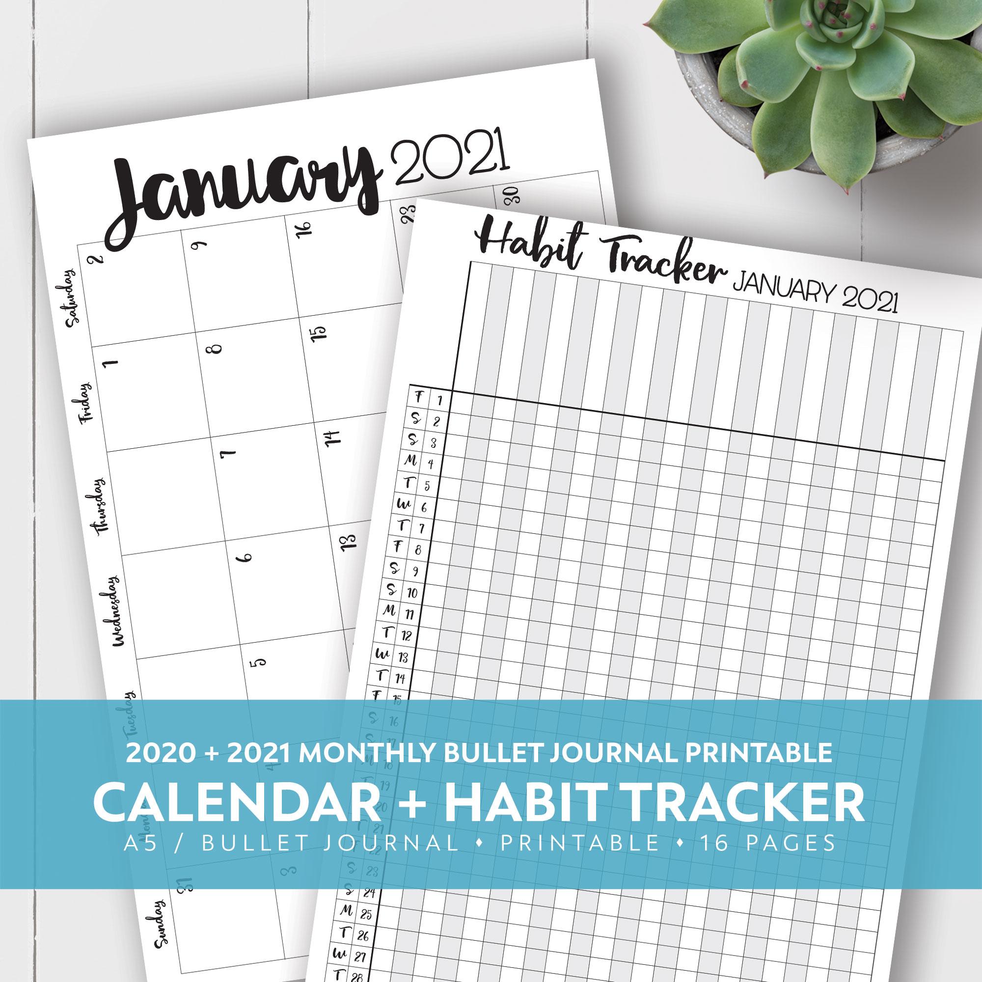 2020 + 2021 Monthly Printable Calendar + Habit Tracker Kit inside Hunting Planner 2021 Monthly