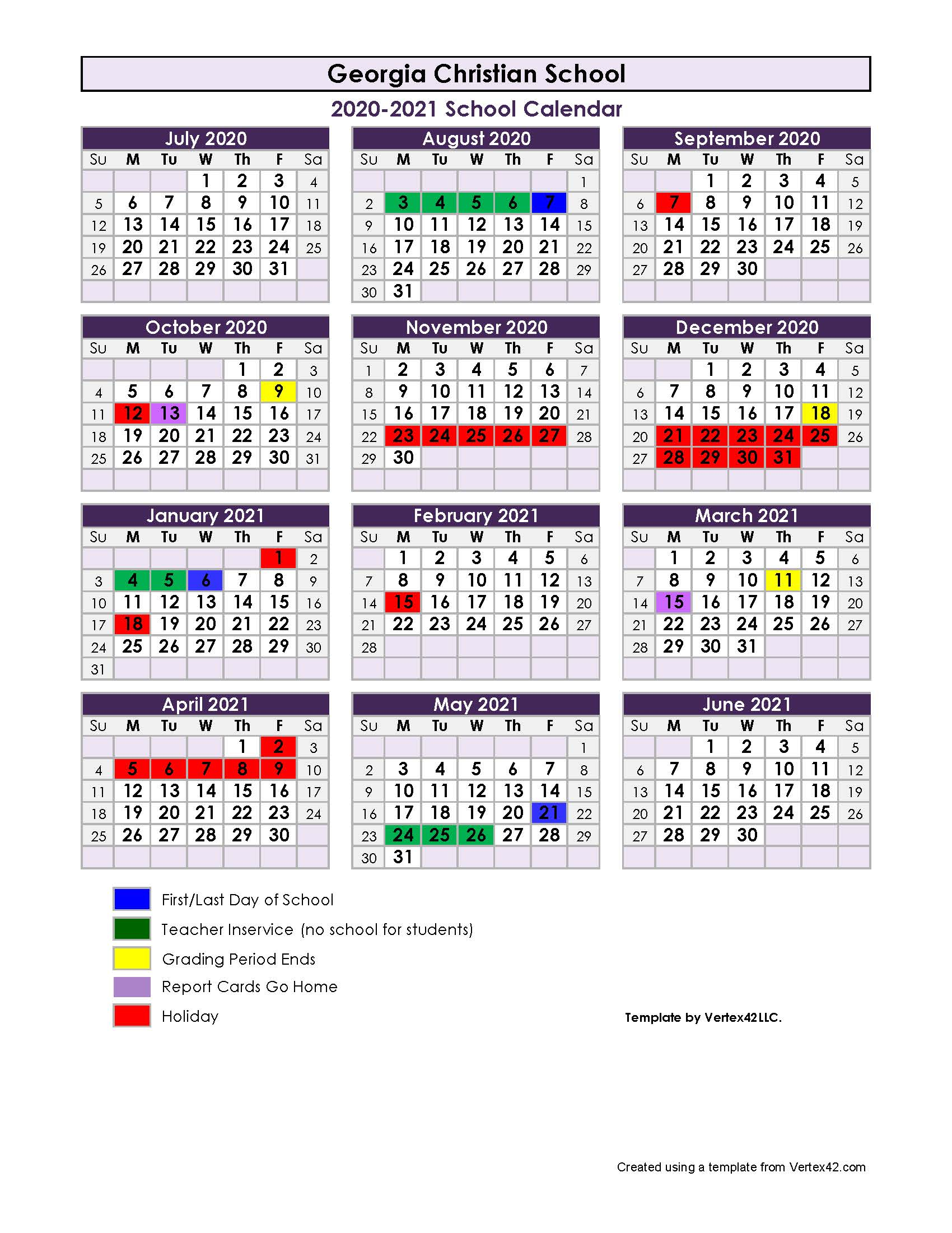 2020-2021 School Calendar - Georgia Christian School intended for Vertex Academic Calendar