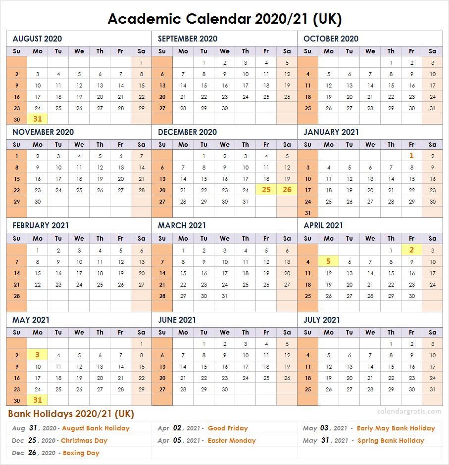 2020-2021 School Calendar Template | Academic Calendar 2020 for Sunday To Saturday Year Calendar 2021/21
