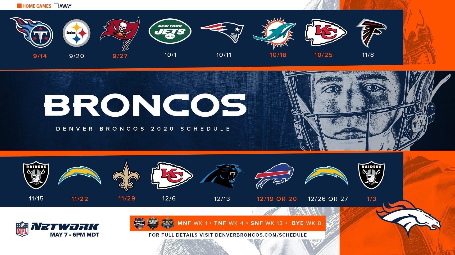 2020-2021 Season In 2020   Denver Broncos, Broncos, Broncos Fans with Nfl 2021 Schedule Printable